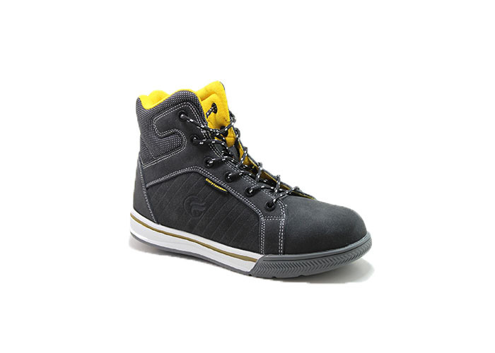 Ultra Light Fashionable Rubber Sole Leather Safety Shoes With Steel Toe Cap For Mens
