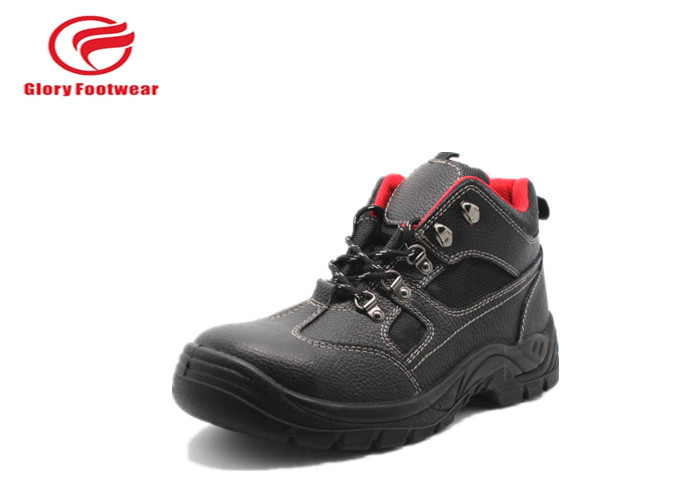 Red Soft Mesh Rubber Safety Shoes Steel Toe Anti Slip With Breathable Split Leather