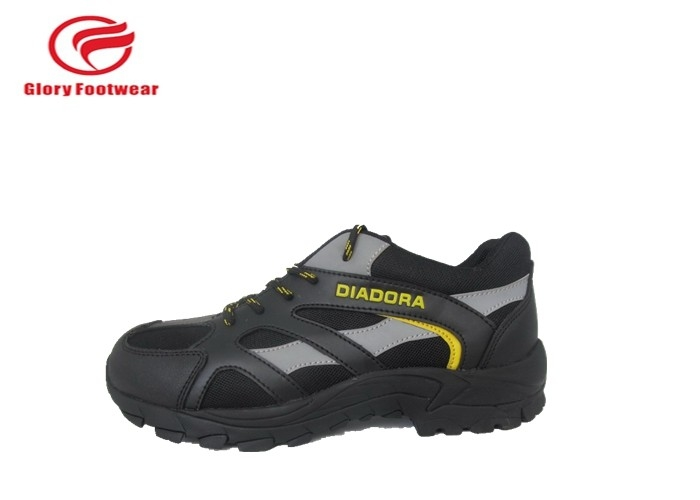 Smooth Leather Sport Safety Shoes , Comfortable Lightweight Steel Toe Sneakers