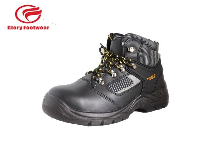 Ladies Full Grain Leather Lightweight Steel Toe Boots Black , Mens Steel Cap Work Boots