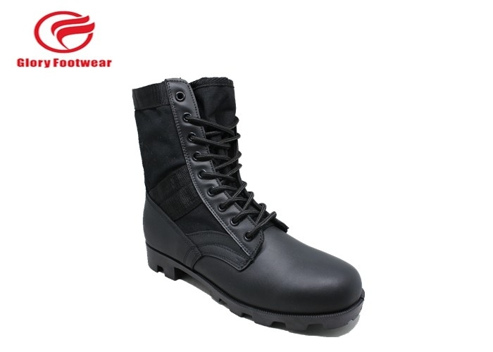 Trendy  Lace Up Male Leather Military Combat Boots With Microfiber At The End
